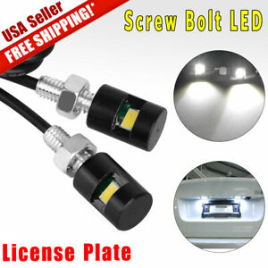 2x Universal White License Plate Light Motorcycle Screw Smd Led Bolt Lamp Car
