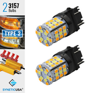2x 3157 Type 2 Dual Color Switchback 60 Led Turn Signal Light Bulbs W Resistor