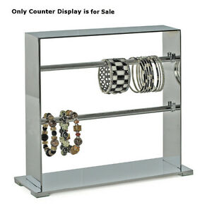 Retail 2 tier Chrome Metal Bracelet Display Bars 13 25 w X 4 d X 11 25 h