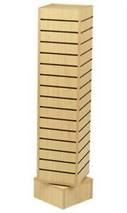 New Retails Maple Rotating Slatwall Tower With 6 h Base 12 l X 12 w X 54 h