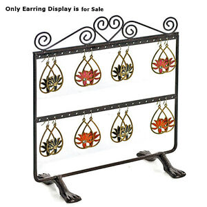 Two sided Metal Hanging Earring Display Dual Stand Base two Rows 9 75 w X 10 h