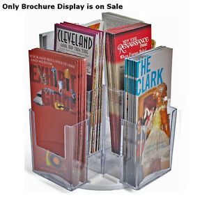 Multi pocket Tri fold Brochure Revolving Counter Display 8 Pockets 4 wx7 h