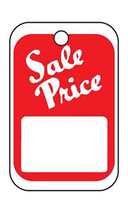 Red white Unstrung Sale Price Tags 1 w X 1 h With White Block 1000 Per Carton