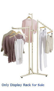 New Retail Boutique Ivory 3 way Clothes Floor Standing Rack 48 Inch 72 Inch H