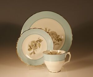 Crown Staffordshire Gray Blossoms Trio Cup Saucer And Plate