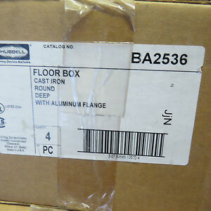 Hubbell Ba2536 Floor Box Floor Outlet Box Cast Iron Box Of 4 Boxes