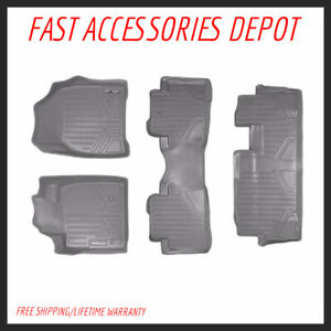 Maxfloormat Floor Mats 3 Row Set Grey For 2009 2015 Honda Pilot