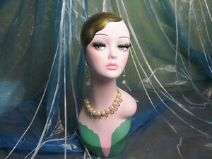 Hand painted Vintage Old fashioned Head Mannequin Wig Jewelry Earing Display