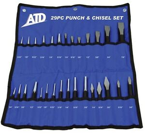 Atd 29pc Master Punch And Chisel Set With Roll Pouch 729