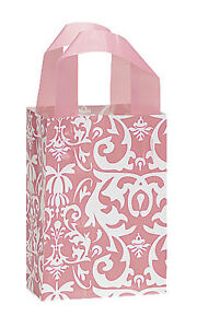 Count Of 100 Bags Small Pink Damask Frosted Plastic Shopping Bag 5 X 3 X 7