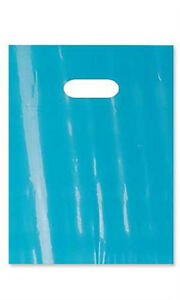 New 1000 Small Teal Low Density Merchandise Bag With Die Cut Handles 9 X 12