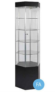 New Metal Framed Black Hexagonal Tower Display Case With Light 75 h X 20 w