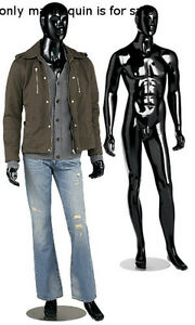 Sturdy Metal Based Max Glossy Black Male Mannequin With Detachable Arms