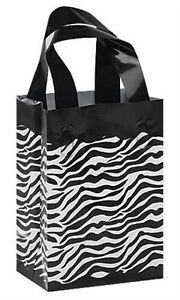 Count Of 100 Small Frosted Plastic Zebra Print Shopping Bags 5 x3 x7