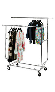 Chrome Finish Double rail Fold Up Clothing Rack 50 w X 24 d X 56 65 H