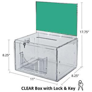 Clear Extra Large Suggestion Box With Pocket Lock And Keys 11 wx8 25 hx8 25 d