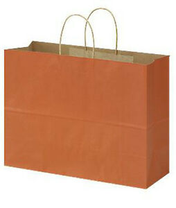 100 Large Burnt Orange Paper Shopping Bag With Rope Handles 16 X 6 X 12