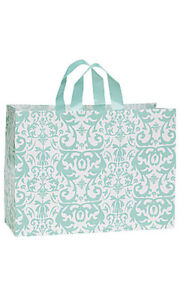 100 Bags Large Aqua Damask Frosted Plastic Shopping Frosty Look Bag 16 x 6 x12