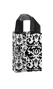 Count Of 100 Bags Small Black Damask Frosted Plastic Shopping Bag 5 x3 x7
