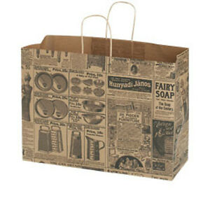 100 Large Newsprint Paper Shopping Bags With Gusset Handles 16 X 6