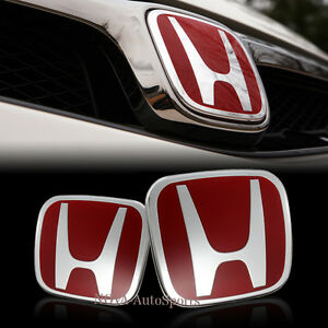 Red Jdm H Emblem 2 Pcs Set Front Rear For 2008 2014 Accord Coupe 2dr