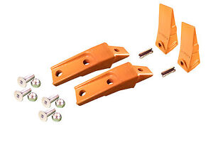 2 Bobcat Style Skid Steer Bucket Teeth W Bolt On Shanks Pins