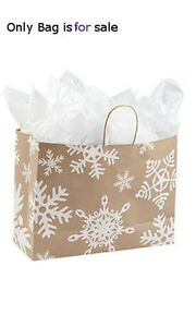 Count Of 100 Retail Large Giant Snowflake Paper Shopping Bags 16 w X 6 d X 12 h