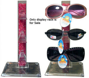 New Retails Red Acrylic Counter Top Sunglass Display Rack Holds 3 Pairs