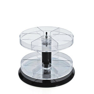 Two Tier Revolving Counter Display With 6 Compartments Dividers 11 Dia X 8 H