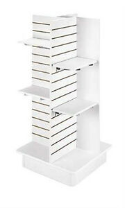 White 4 panel Slatwall Tower With Base Shelves And Brackets 23 l X 23 w X 54 h