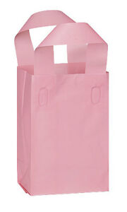 New Retails 100 Bags Small Pink Frosted Plastic Shopping Bag 5 X 3 X 7