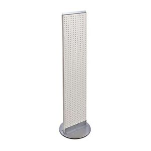 White Pegboard Floor Display Stand 13 5 W X 60 H Inches On Revolving Base