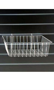 2 Piece White Mini Grid Wire Basket For Slatwall Dimensions 12 L X 12 W X 4 D