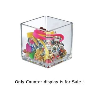 Count Of 4 Cases New Crystal Styrene 4 Cube Bin Holder Square Counter Displays