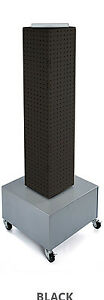 New Black Interlocking Pegboard Display With Wheeled Base 8 W X 8 D X 40 h