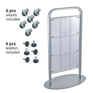 New Clear Plastic Pegboard Floor Stand With Silver Metal Base 24 w X 48 h