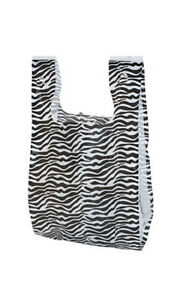 Count Of 1000 Zebra Print Plastic T shirt Bags Small 8 X 5 X 16
