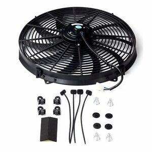 16 Inch Universal Slim Fan Push Pull Electric Radiator Cooling 12v Mount Kit