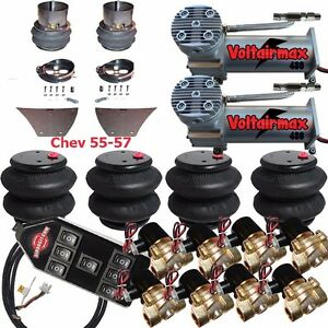 Air Suspension Kit 3 8 Valve 7 Switch Pewter Airmaxxx 1957 Chevy Impala