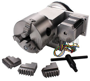 Hollow Shaft Cnc 4th Axis Rotary Table Router Rotational Axis 100mm 3 Jaw Chuck