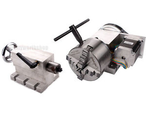 Cnc Hollow Shaft 4th Axis Router Rotary A Axis 100mm 4jaw Chuck 65mm Tailstock