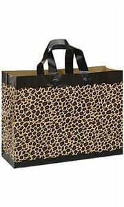 Count Of 100 Frosted Plastic Leopard Print Shopping Bags Large 16 X6 X 12