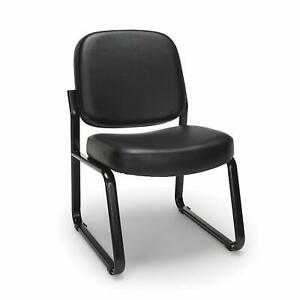 Anti bacterial Black Vinyl Reception Office Side Chair Waiting Room Chair