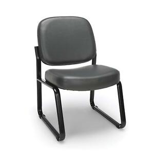 Anti bacterial Charcoal Vinyl Reception Office Side Chair Waiting Room Chair