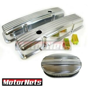 Sb Chevy Polished Aluminum Finned Valve Covers 12 Air Cleaner Kit Sbc 350 383