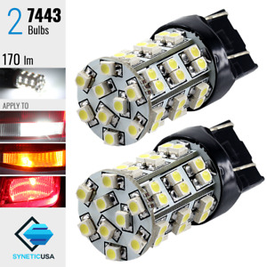 2x 7443 992a Led Bulbs 6000k White Lights For Reverse Backup Turn Signal Brake