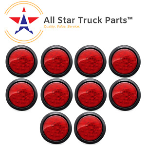4 Inch Red 12 Led Round Stop Turn Tail Truck Light With Grommet Wiring Qty 10
