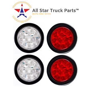 4 Inch 12 Led Round Stop turn tail Truck Light W Grommet wiring 2 Red 2 White