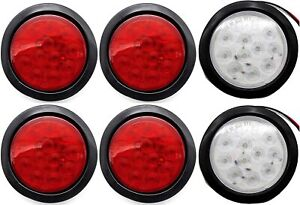 4 Inch 12 Led Round Stop Turn Tail Truck Light W Grommet Wiring 4 Red 2 White