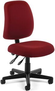 Adjustable Height Medical Office Task Chair In Wine Fabric Clinic Office Chair